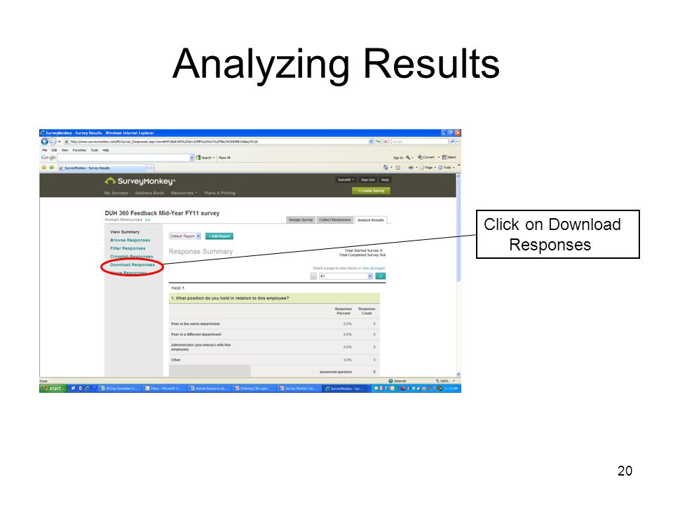 Analyzing Results Click on Download Responses