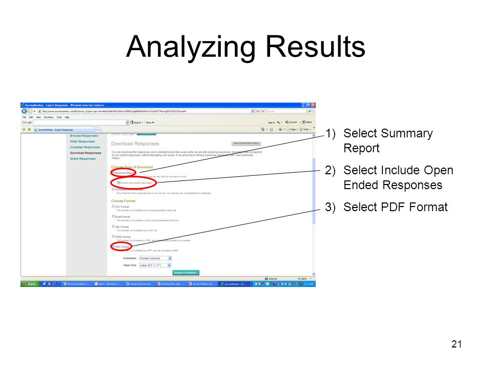 Analyzing Results Select Summary Report