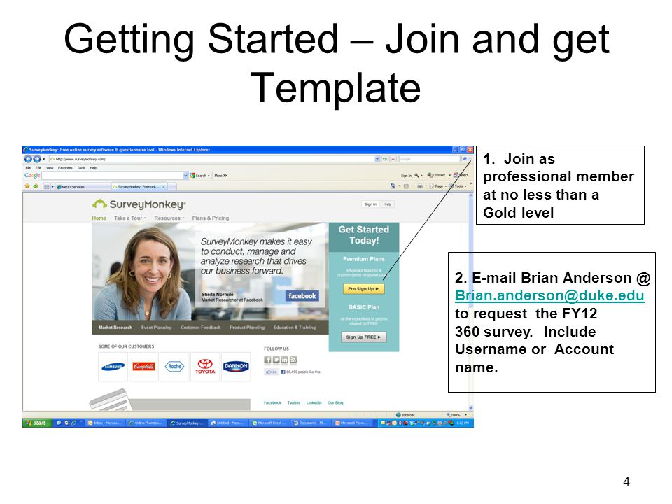Getting Started – Join and get Template