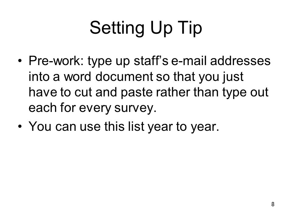 Setting Up Tip