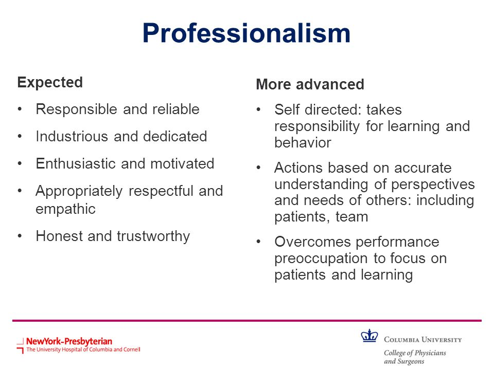 Professionalism Expected More advanced Responsible and reliable
