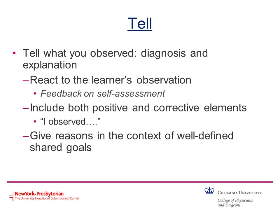 Tell Tell what you observed: diagnosis and explanation