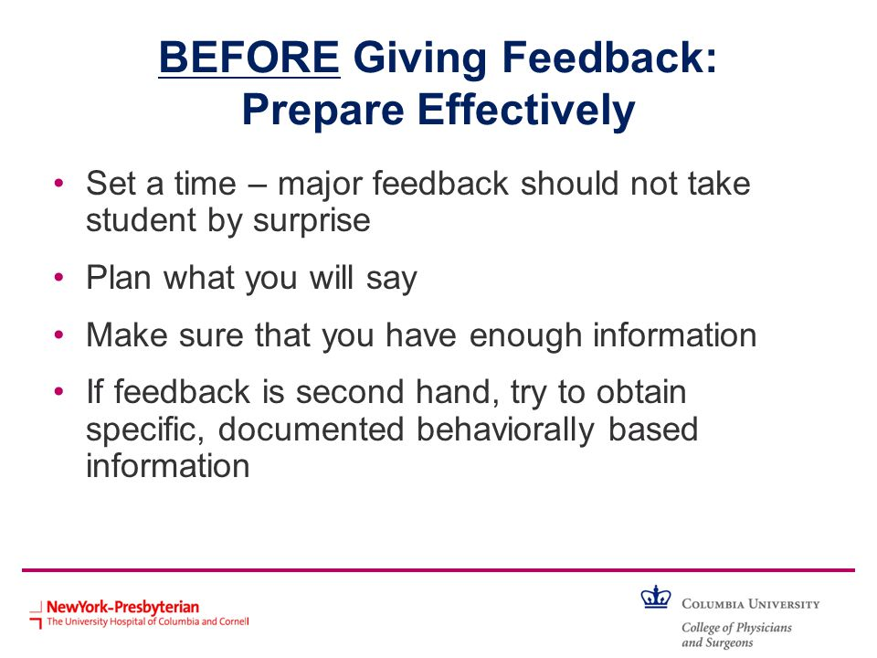 BEFORE Giving Feedback: Prepare Effectively