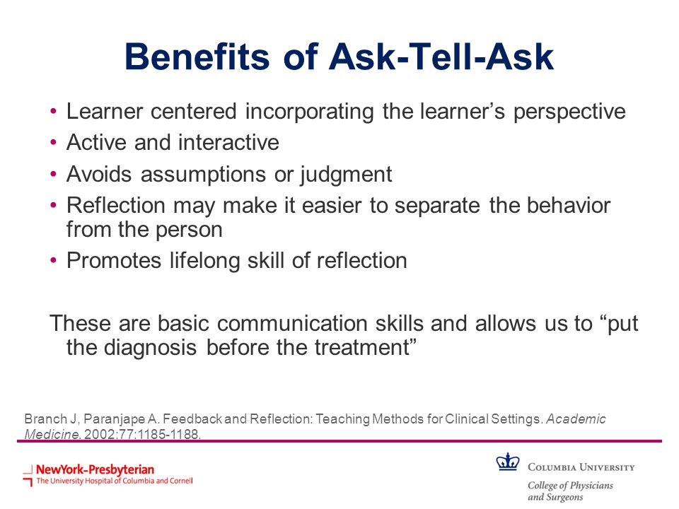 Benefits of Ask-Tell-Ask