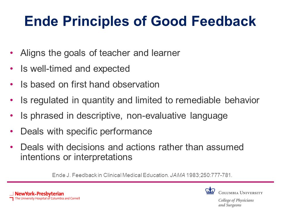 Ende Principles of Good Feedback