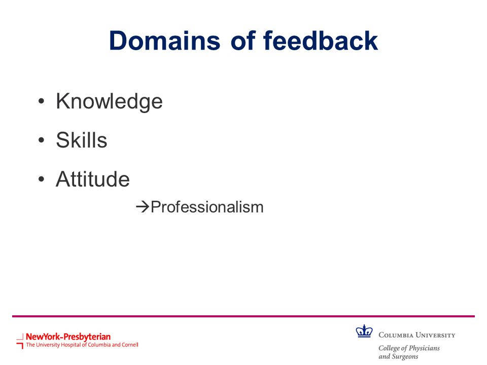 Domains of feedback Knowledge Skills Attitude Professionalism
