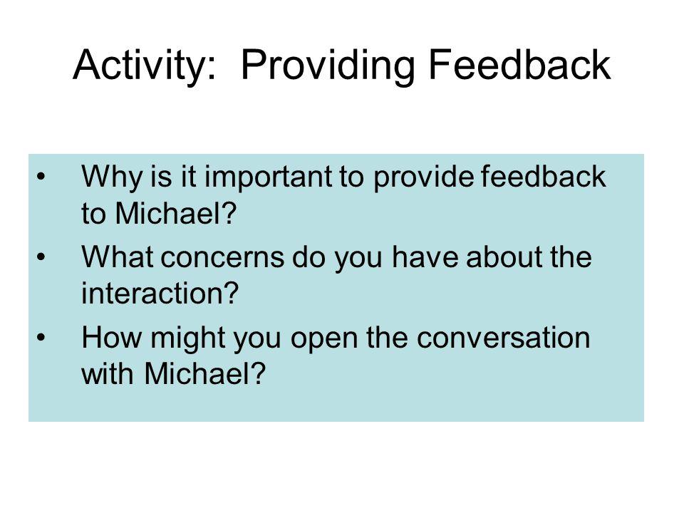 Activity: Providing Feedback