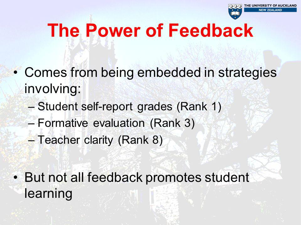 The Power of Feedback Comes from being embedded in strategies involving: Student self-report grades (Rank 1)