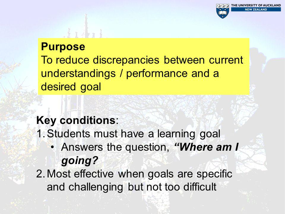 Purpose To reduce discrepancies between current understandings / performance and a desired goal. Key conditions: