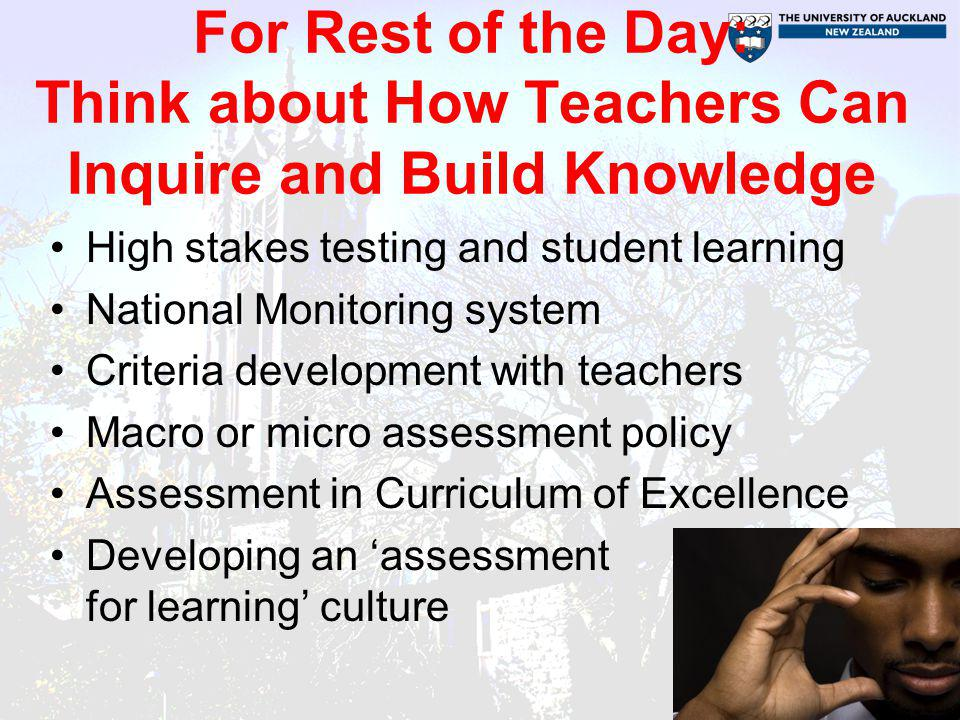 For Rest of the Day: Think about How Teachers Can Inquire and Build Knowledge