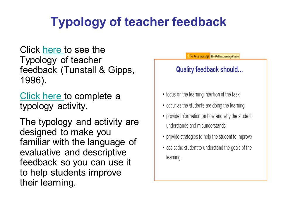 Typology of teacher feedback