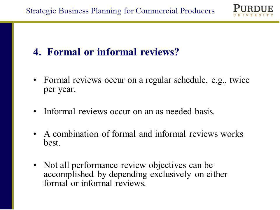 4. Formal or informal reviews