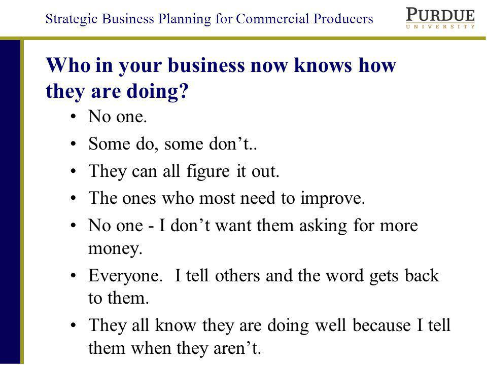 Who in your business now knows how they are doing