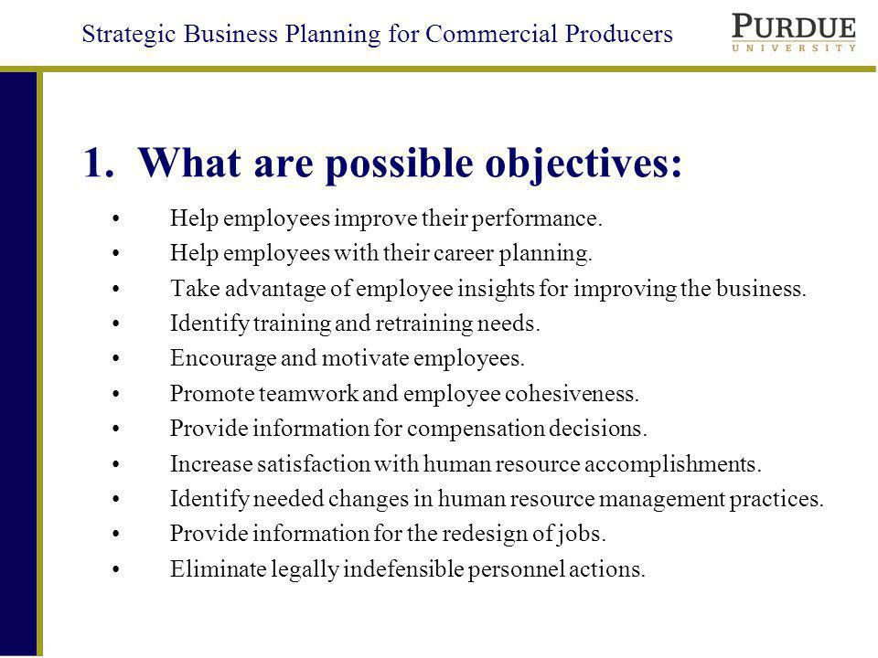 1. What are possible objectives: