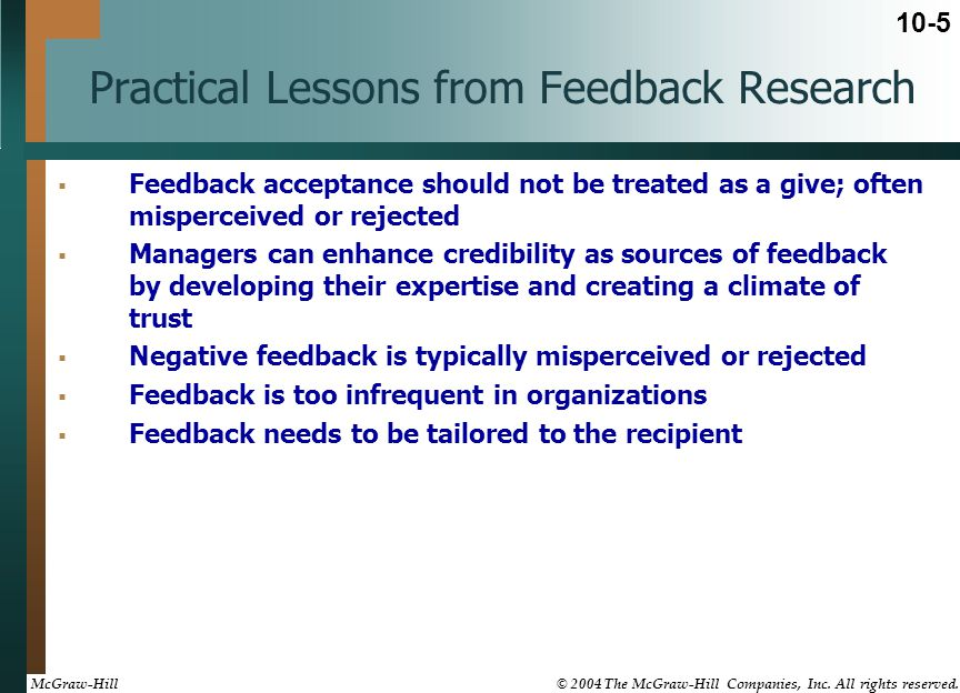 Practical Lessons from Feedback Research