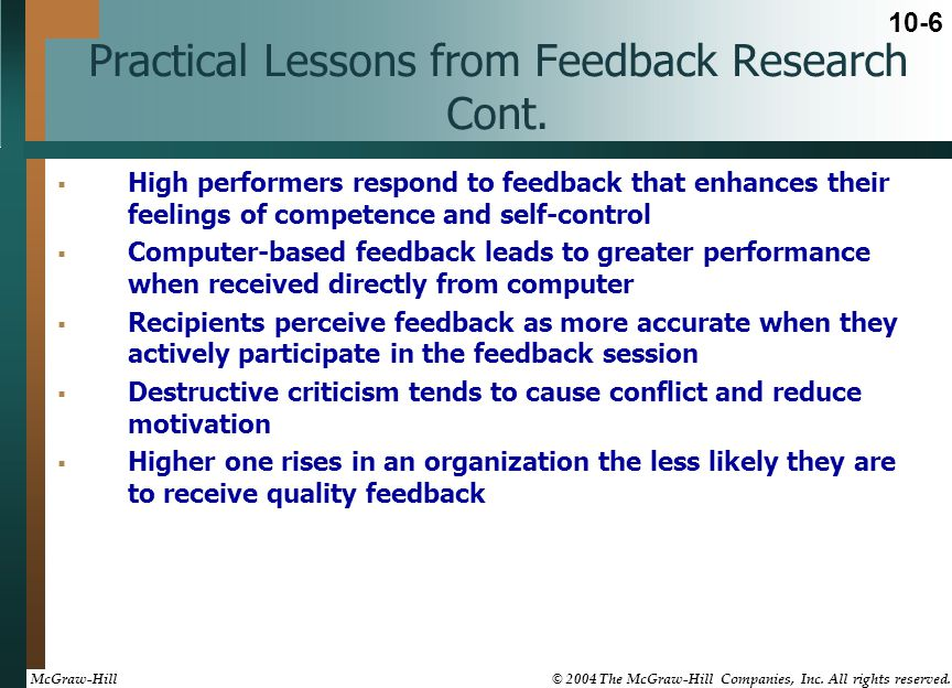 Practical Lessons from Feedback Research Cont.