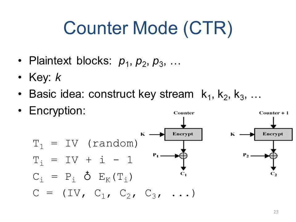 Counter Mode (CTR) Plaintext blocks: p1, p2, p3, … Key: k