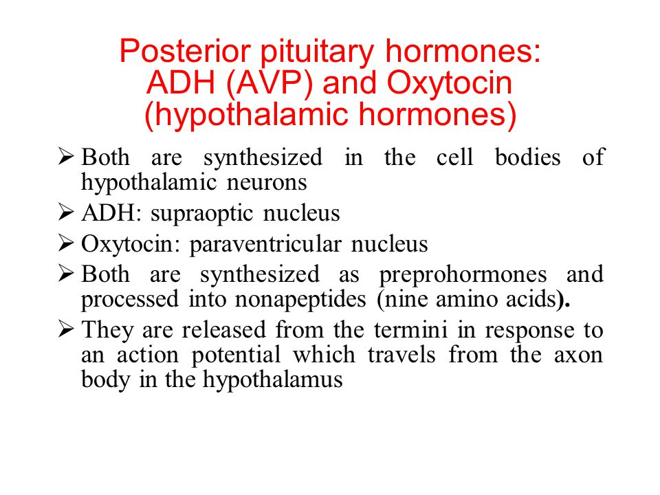 Posterior pituitary hormones: ADH (AVP) and Oxytocin (hypothalamic hormones)