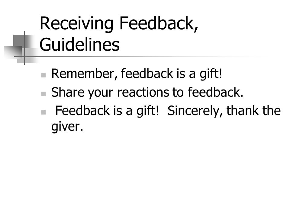 Receiving Feedback, Guidelines