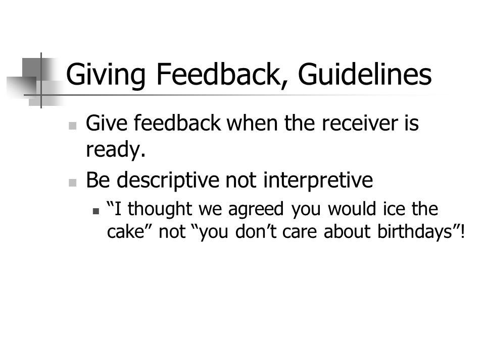 Giving Feedback, Guidelines