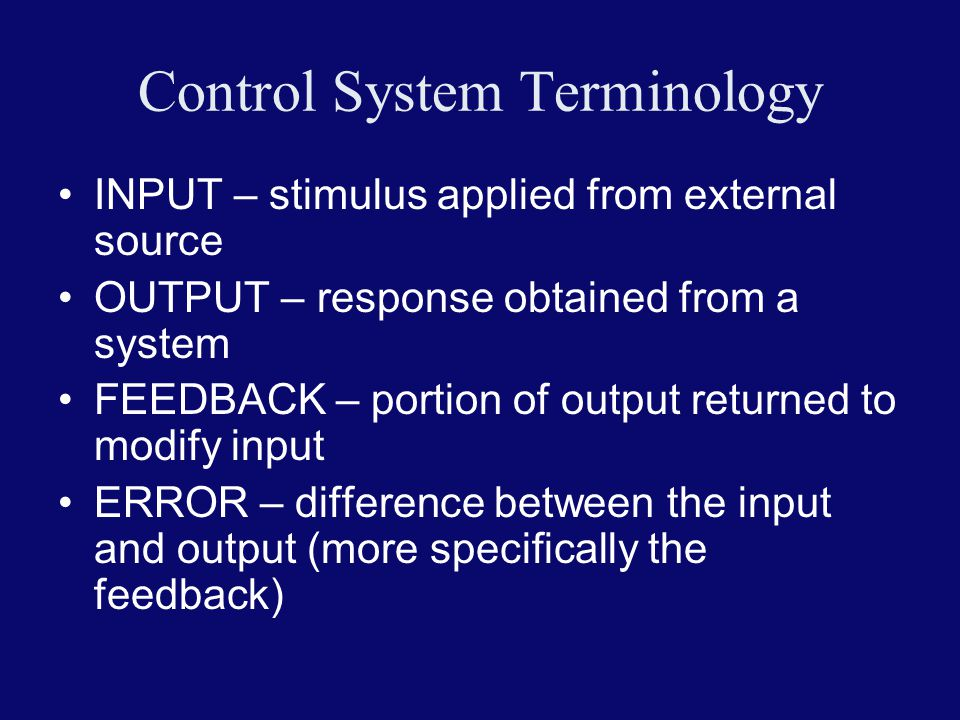 Control System Terminology