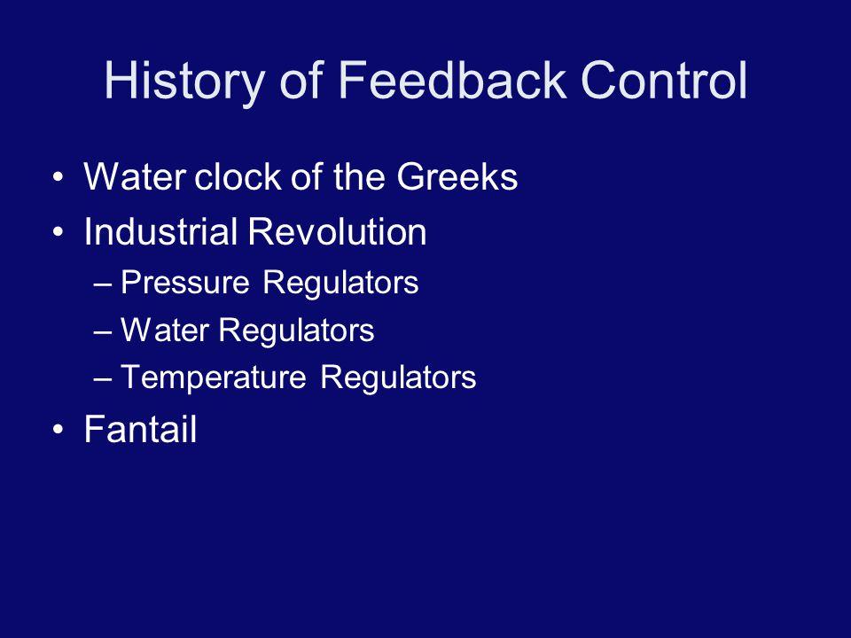 History of Feedback Control