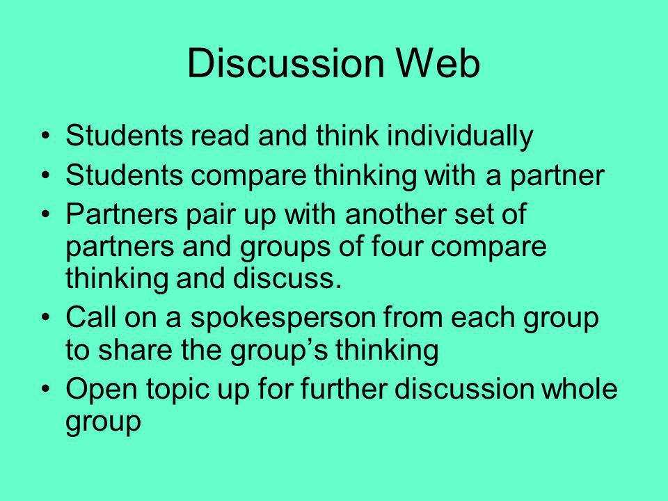 Discussion Web Students read and think individually