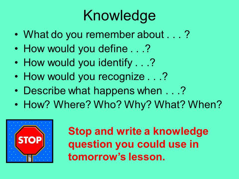 Knowledge What do you remember about . . .