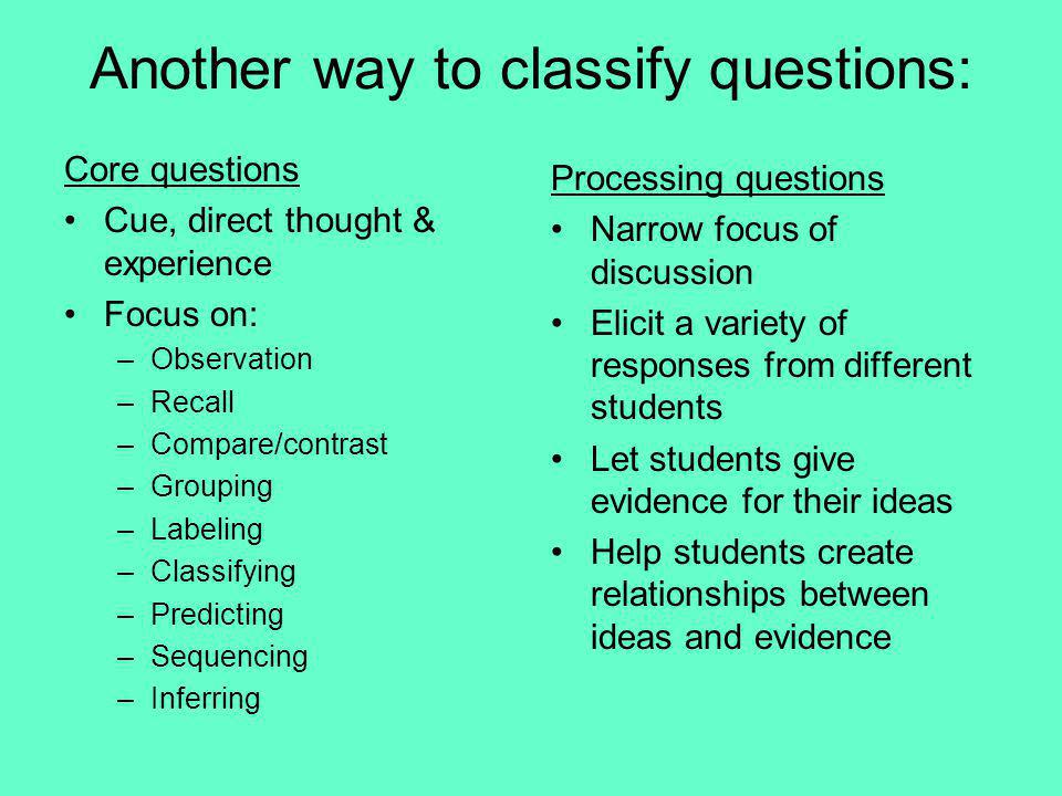 Another way to classify questions: