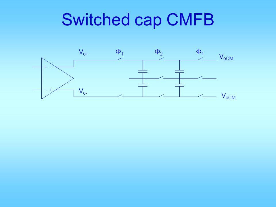 Switched cap CMFB Vo+ Φ1 Φ2 Φ1 VoCM. Vo- VoCM.