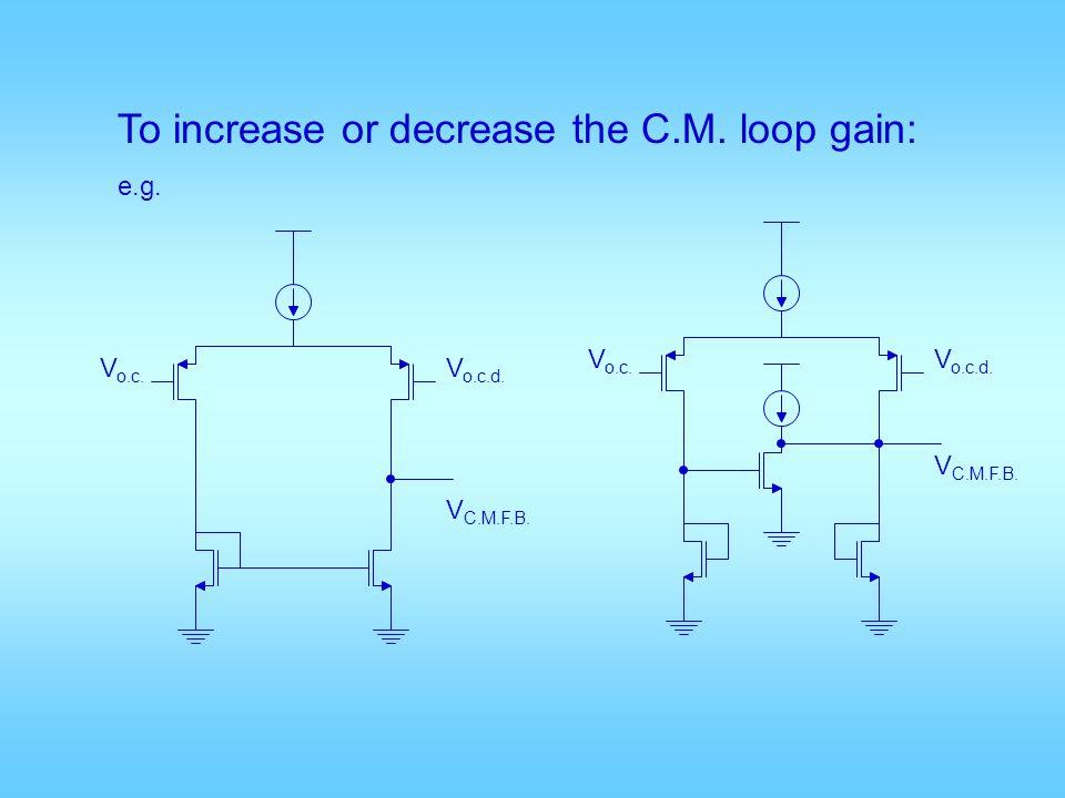 To increase or decrease the C.M. loop gain: