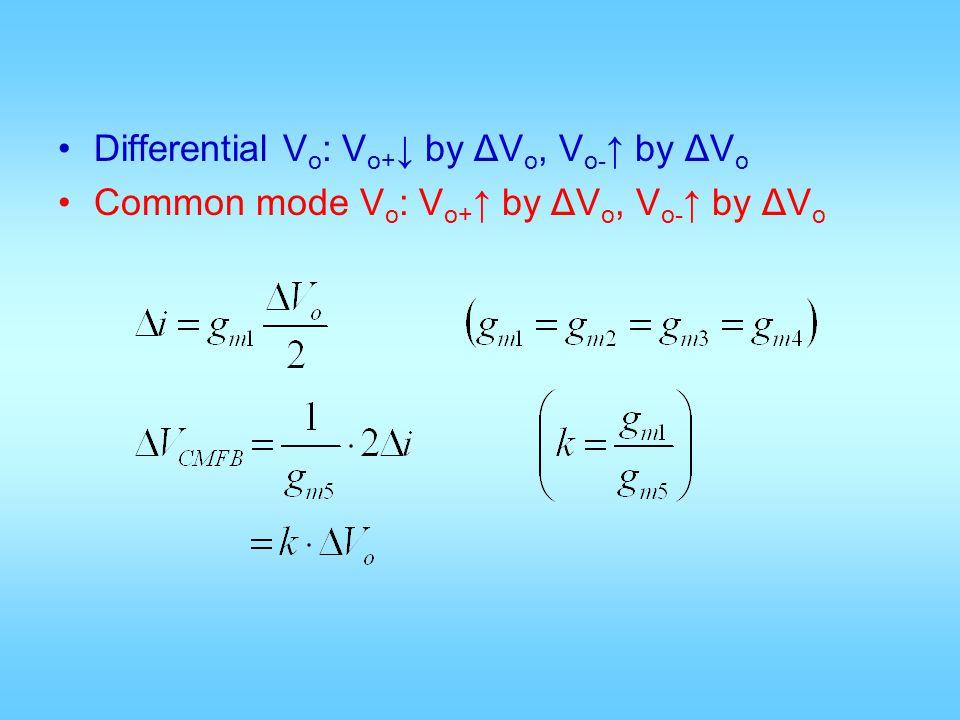 Differential Vo: Vo+↓ by ΔVo, Vo-↑ by ΔVo