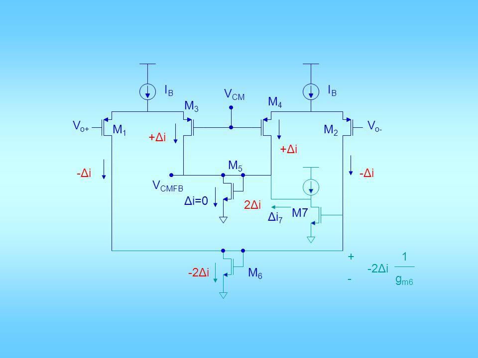 IB IB VCM M4 M3 Vo+ Vo- M1 M2 +Δi +Δi M5 -Δi -Δi VCMFB Δi=0 2Δi M7 Δi7 + - 1 gm6 -2Δi -2Δi M6