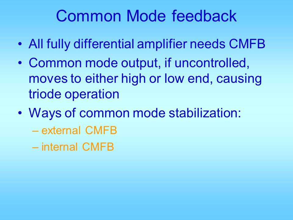 Common Mode feedback All fully differential amplifier needs CMFB
