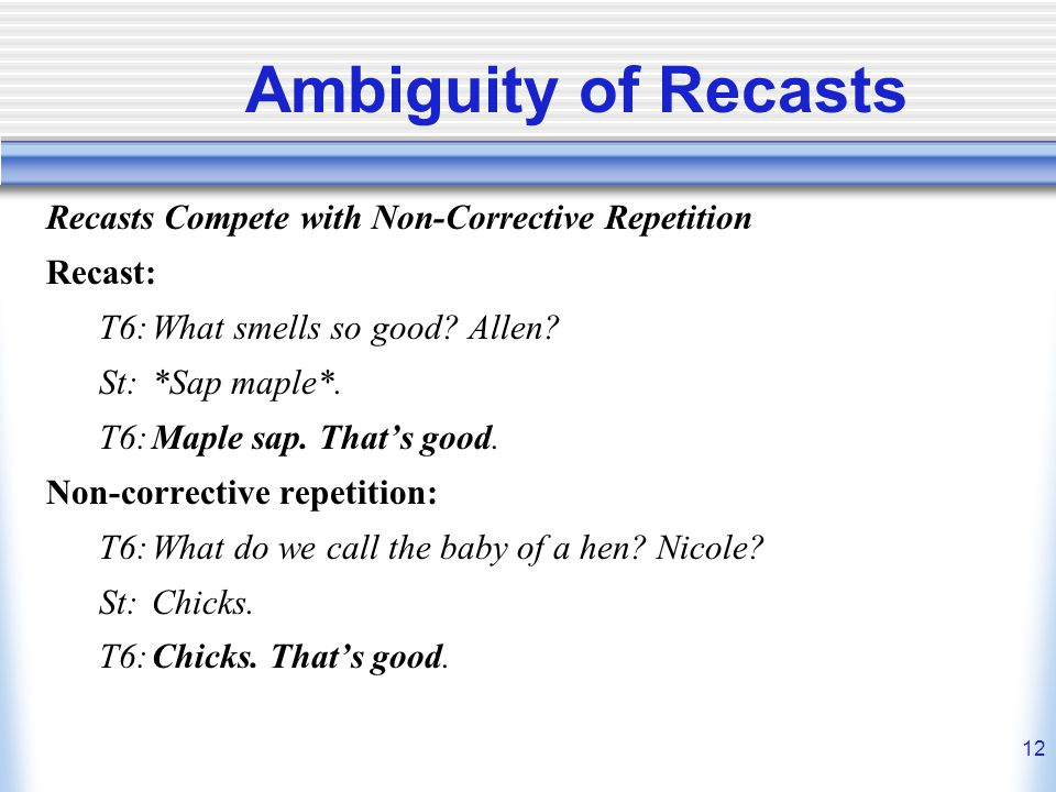 Ambiguity of Recasts Recasts Compete with Non-Corrective Repetition