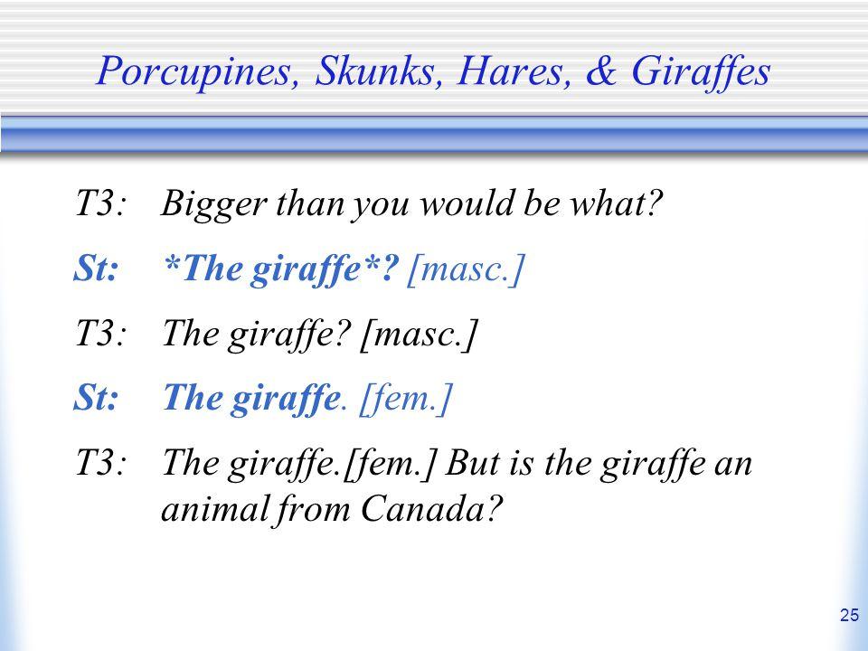 Porcupines, Skunks, Hares, & Giraffes