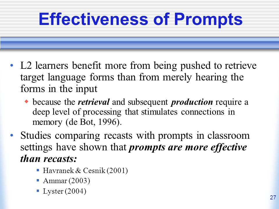 Effectiveness of Prompts