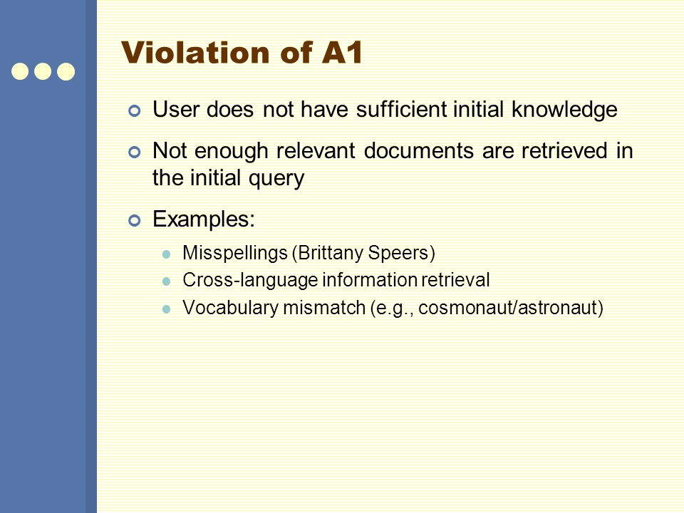 Violation of A1 User does not have sufficient initial knowledge