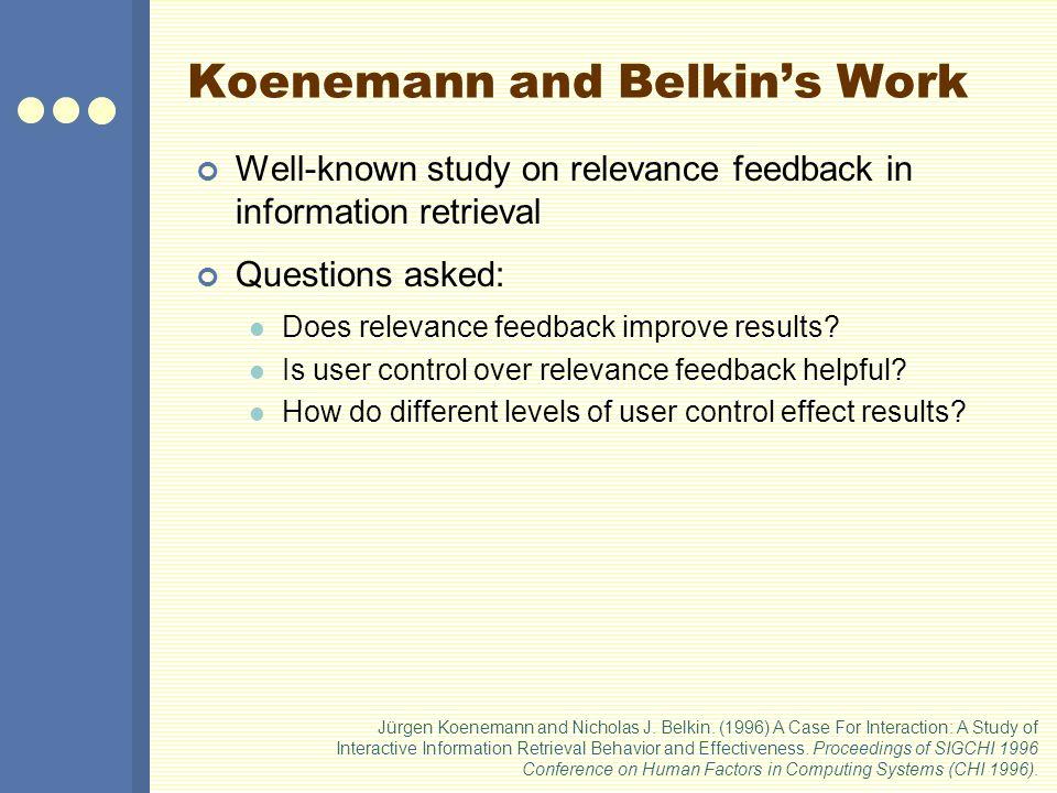 Koenemann and Belkin's Work