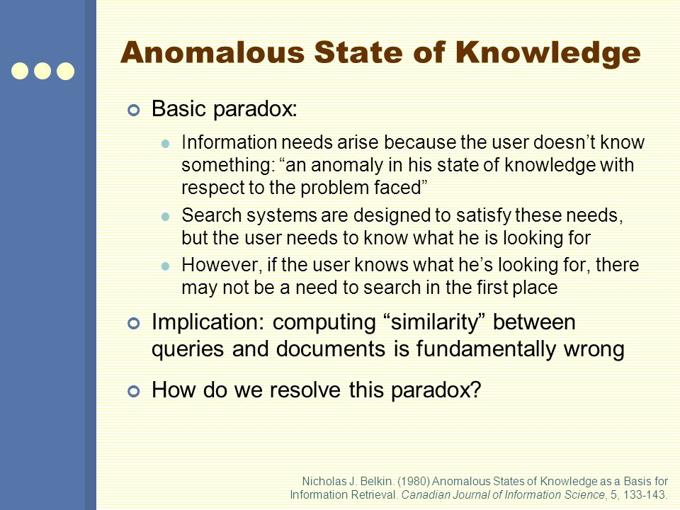 Anomalous State of Knowledge