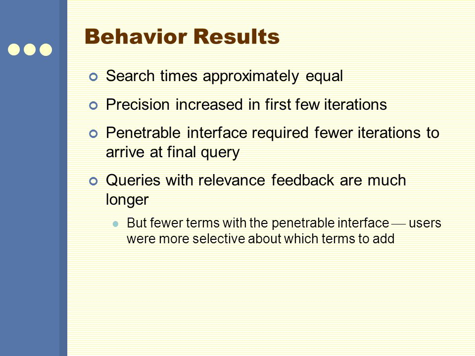 Behavior Results Search times approximately equal