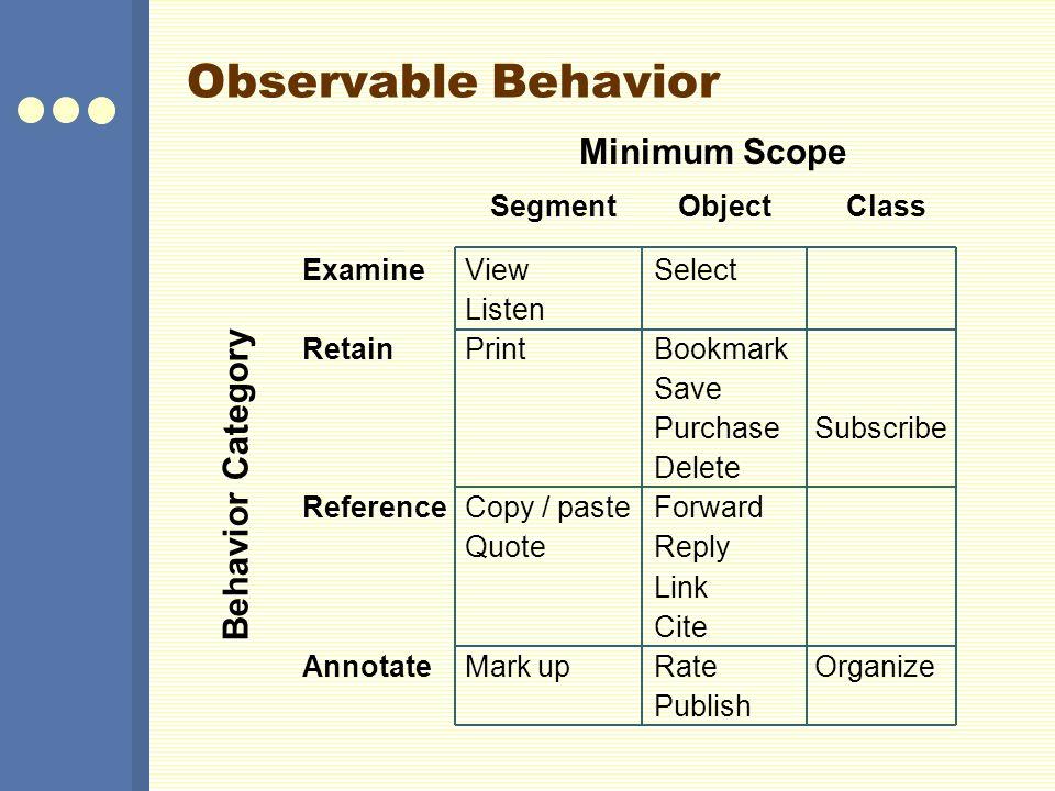 Observable Behavior Minimum Scope Behavior Category Segment Object