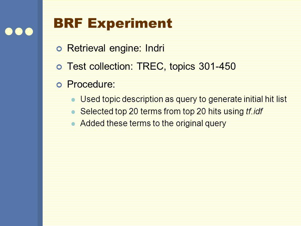 BRF Experiment Retrieval engine: Indri
