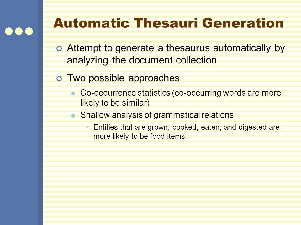 Automatic Thesauri Generation