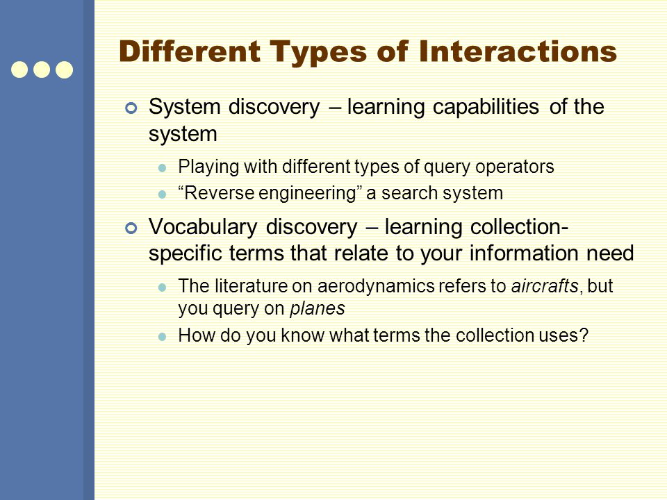 Different Types of Interactions