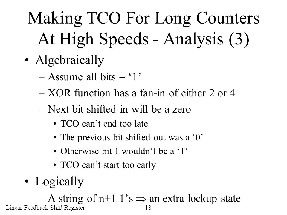 Making TCO For Long Counters At High Speeds - Analysis (3)