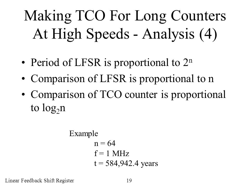 Making TCO For Long Counters At High Speeds - Analysis (4)