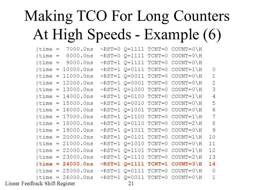 Making TCO For Long Counters At High Speeds - Example (6)