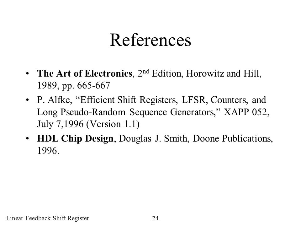 References The Art of Electronics, 2nd Edition, Horowitz and Hill, 1989, pp. 665-667.