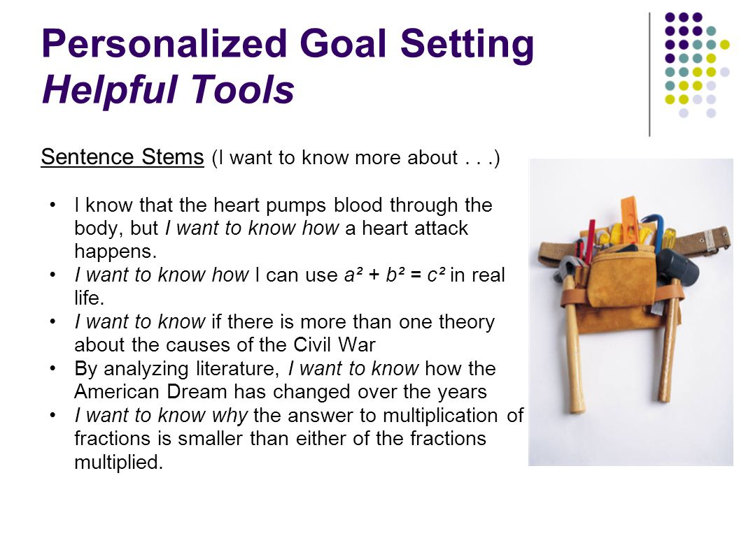 Personalized Goal Setting Helpful Tools
